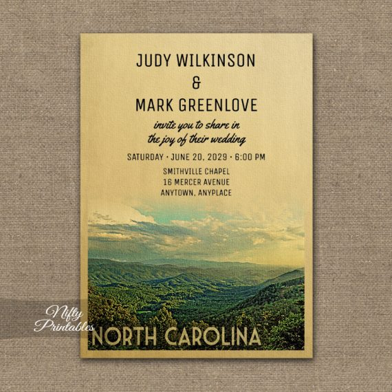 North Carolina Wedding Invitation PRINTED