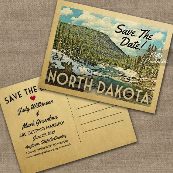 North Dakota Save The Date Snowy Nature PRINTED