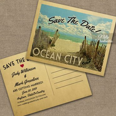 Ocean City Save The Date Beach PRINTED