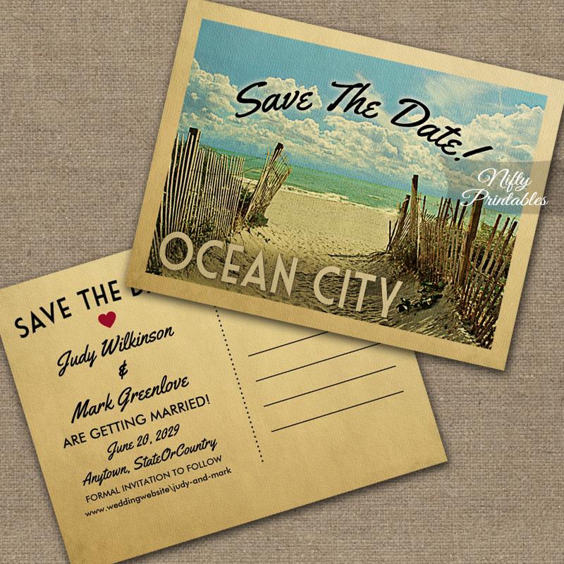 Ocean City Save The Date Beach PRINTED