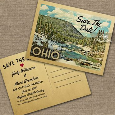 Ohio Save The Date Snowy Nature PRINTED