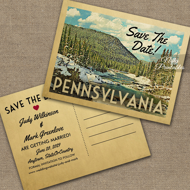 Pennsylvania Save The Date Snowy Nature PRINTED