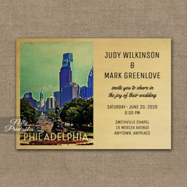Philadelphia Wedding Invitation PRINTED