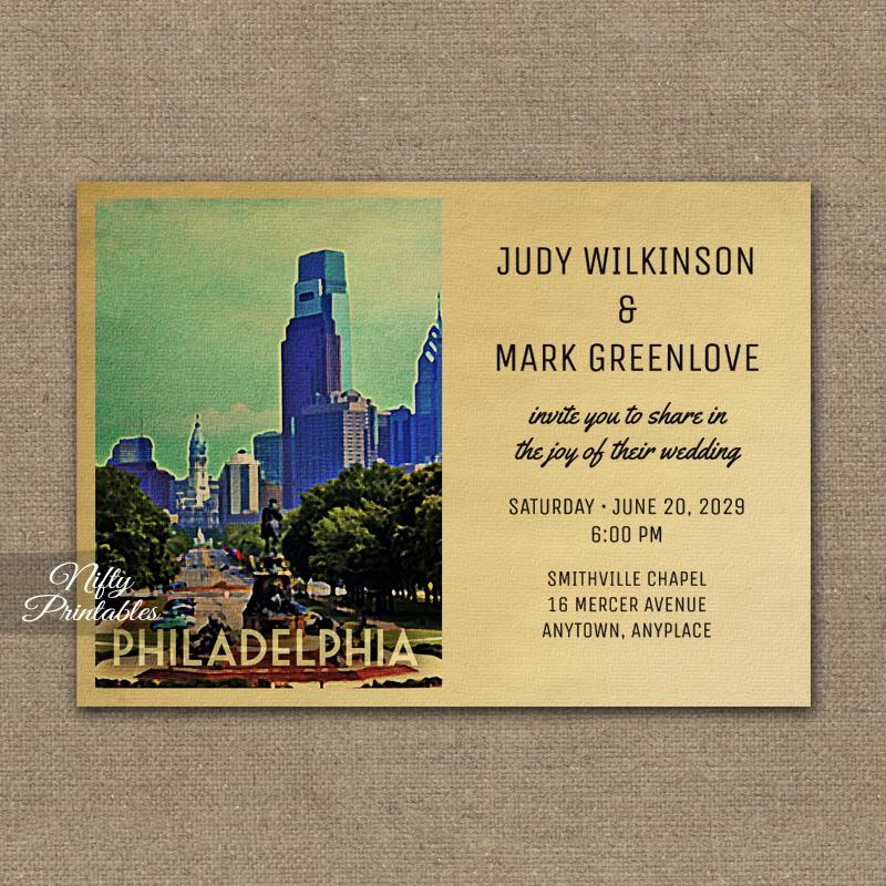 Philadelphia Wedding Invitation PRINTED