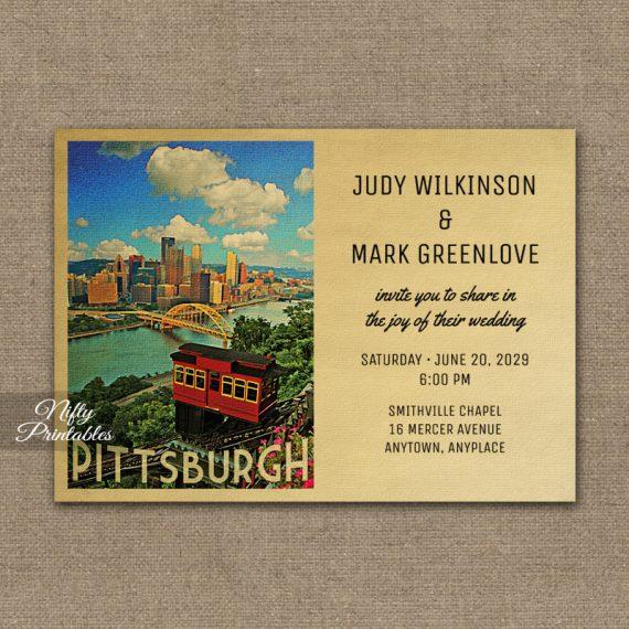 Pittsburgh Wedding Invitation PRINTED