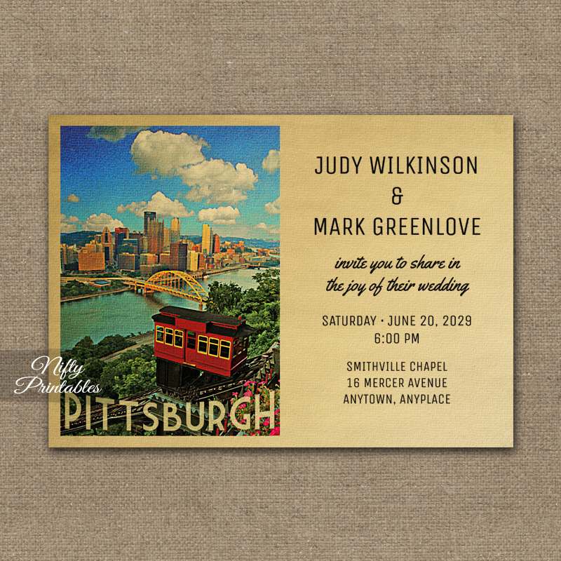 Pittsburgh Wedding Invitation PRINTED