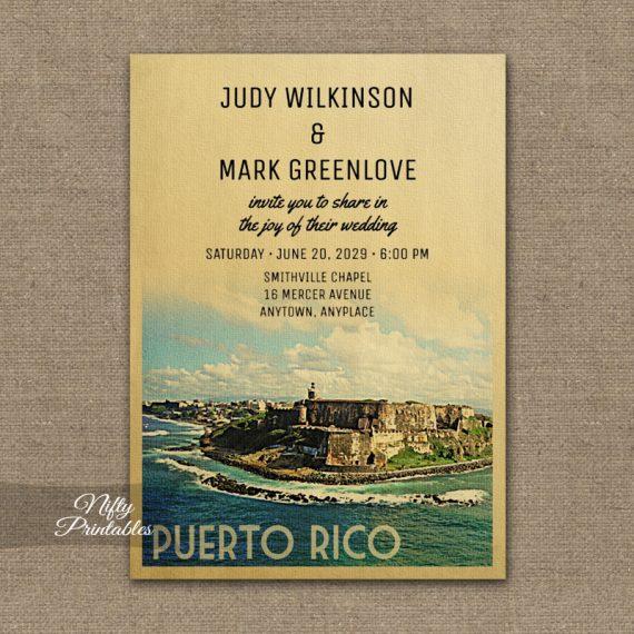 Puerto Rico Wedding Invitation PRINTED