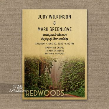 Redwoods California Wedding Invitation PRINTED