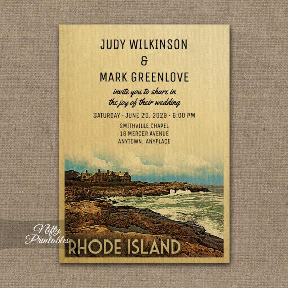 Rhode Island Wedding Invitation PRINTED