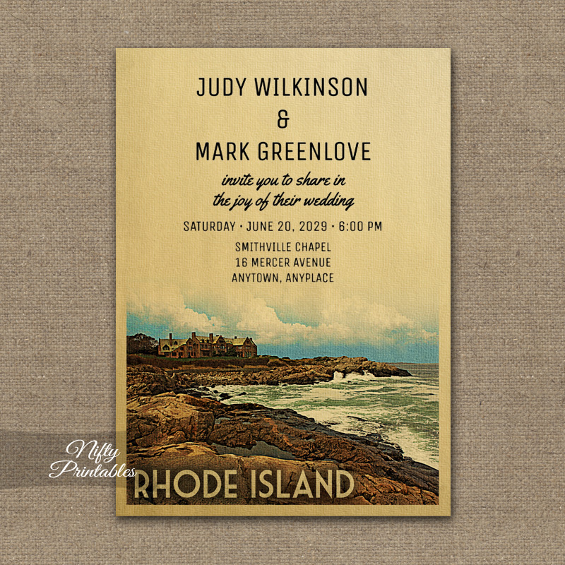 Rhode Island Wedding Invitation Printed