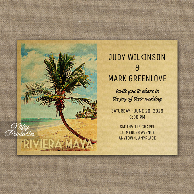 Riviera Maya Wedding Invitation Palm Tree PRINTED