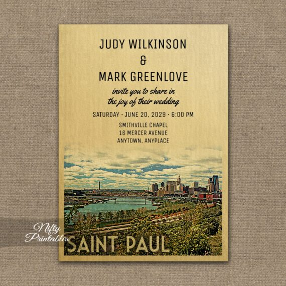 Saint Paul Wedding Invitation St PRINTED