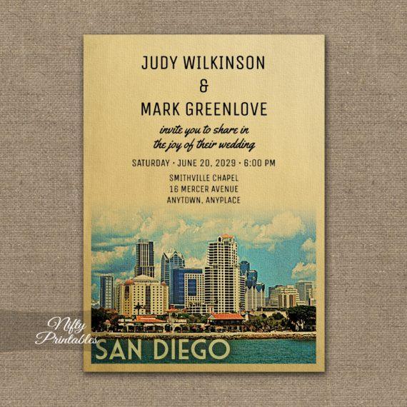 San Diego Wedding Invitation PRINTED