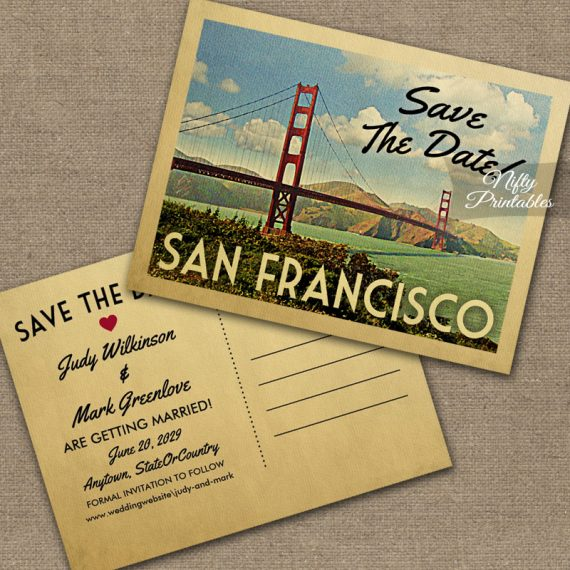 San Francisco Save The Date Golden Gate PRINTED