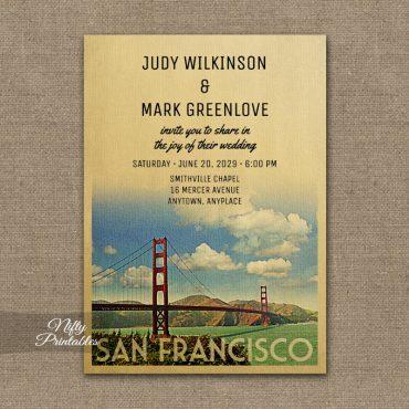 San Francisco Wedding Invitation Golden Gate PRINTED