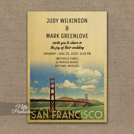 San Francisco Wedding Invitation Golden Gate PRINTED