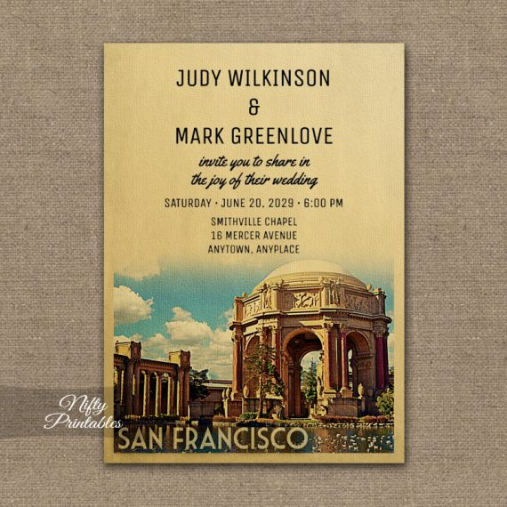 San Francisco Wedding Invitation Palace Fine Arts PRINTED