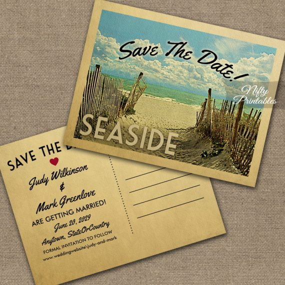 Seaside Beach Save The Date Beach PRINTED