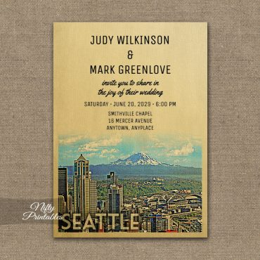 Seattle Wedding Invitation PRINTED