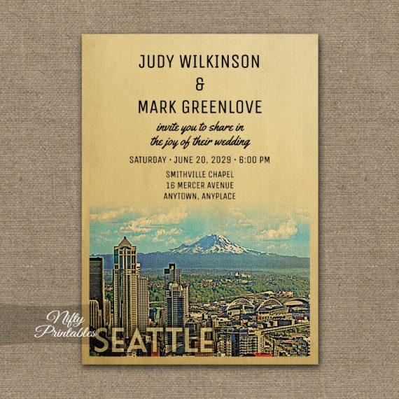 Seattle Wedding Invitation PRINTED