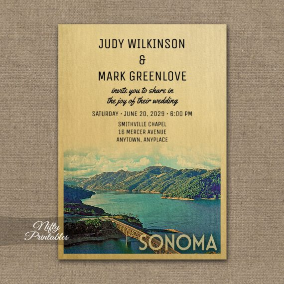 Sonoma Wedding Invitation PRINTED