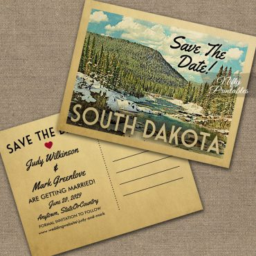 South Dakota Save The Date Snowy Nature PRINTED