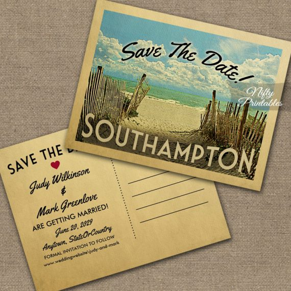 Southampton Save The Date Beach PRINTED