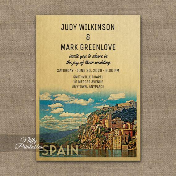 Spain Wedding Invitation PRINTED