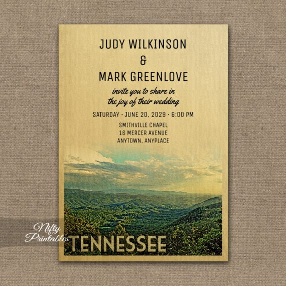 Tennessee Wedding Invitation PRINTED
