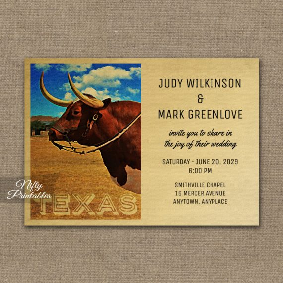 Texas Wedding Invitation PRINTED