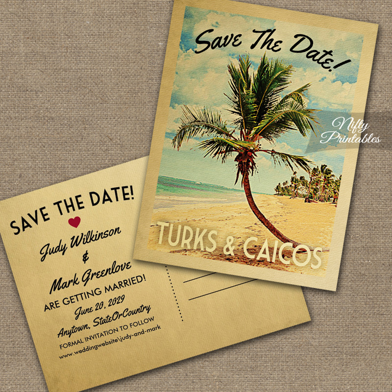 Turks Caicos Save The Date Palm Tree PRINTED