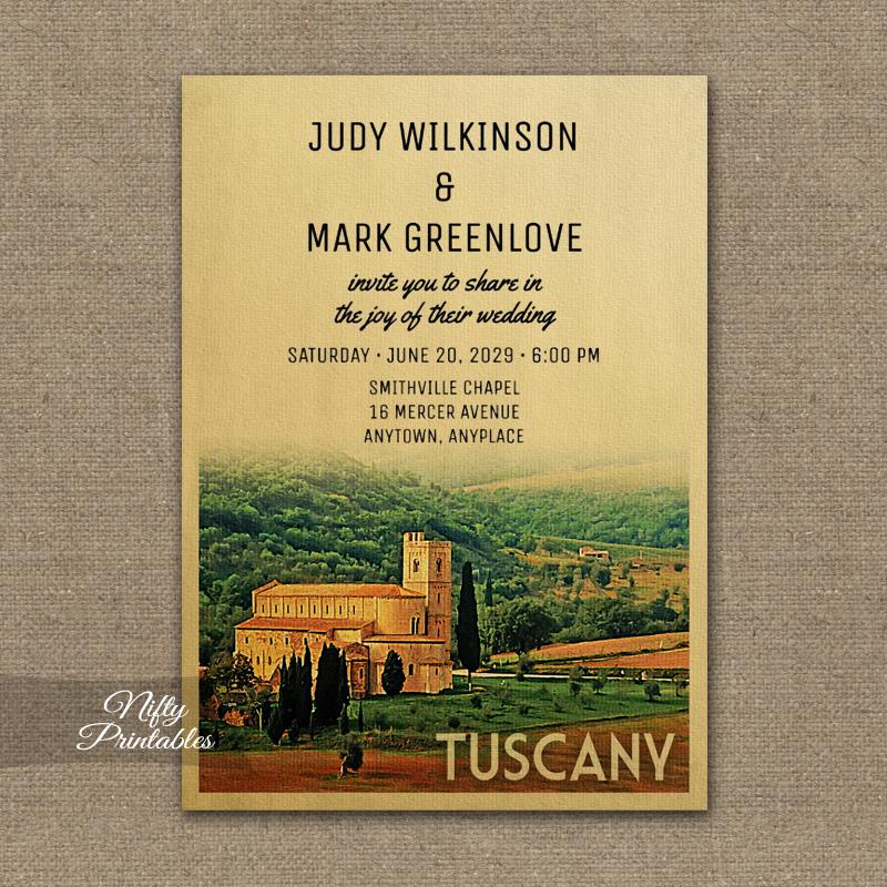 Tuscany Wedding Invitation PRINTED
