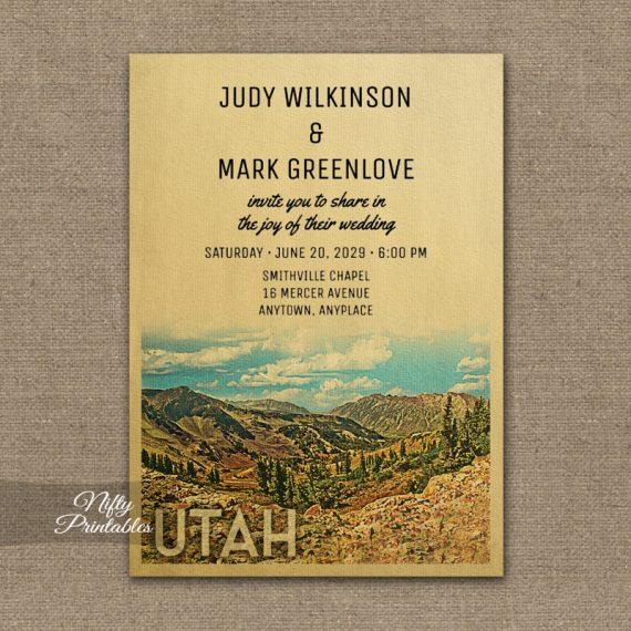 Utah Wedding Invitation PRINTED