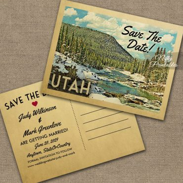 Utah Save The Date Snowy Nature PRINTED