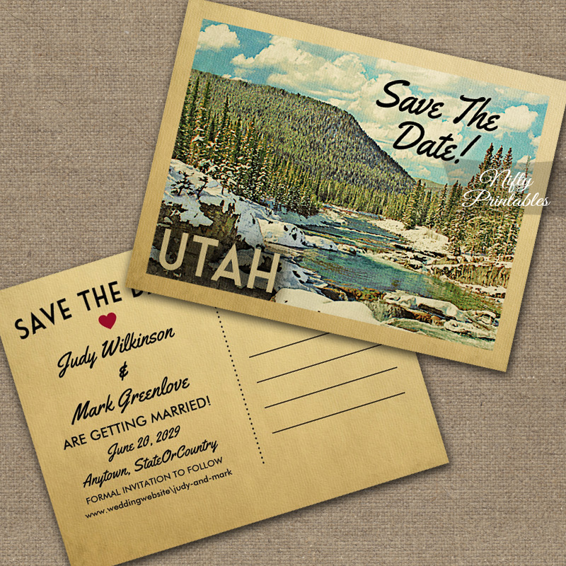 Utah Save The Date Snowy Nature PRINTED