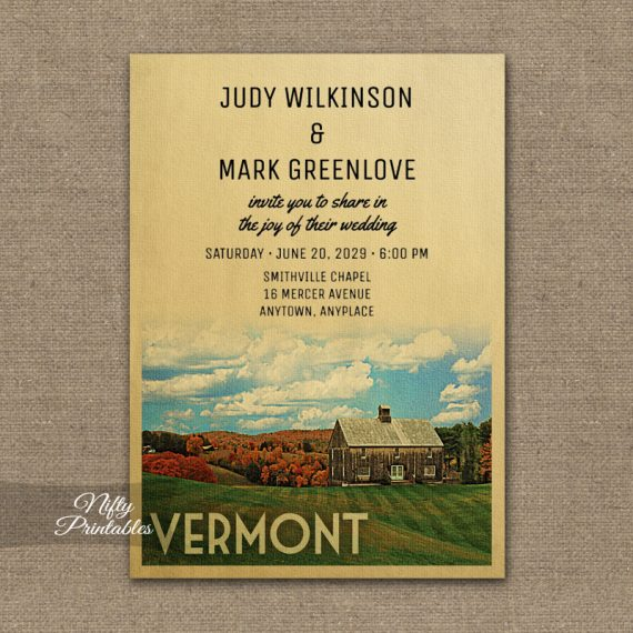 Vermont Wedding Invitation PRINTED