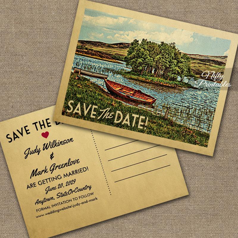 Vintage Lake Boat Save The Date PRINTED