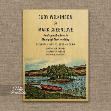 Vintage Lake Boat Wedding Invitation PRINTED