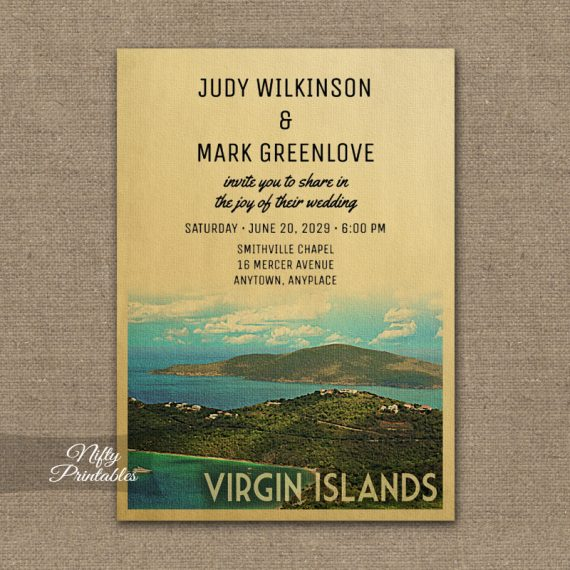Virgin Islands Wedding Invitation PRINTED