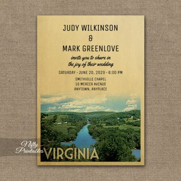 Virginia Wedding Invitation PRINTED