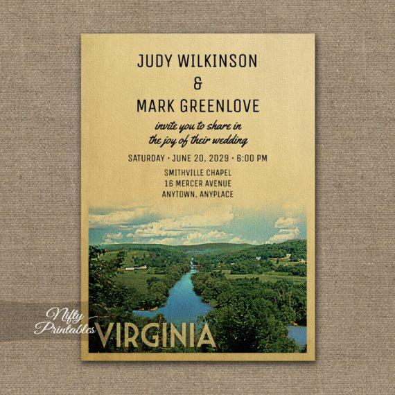 Virginia Wedding Invitation PRINTED