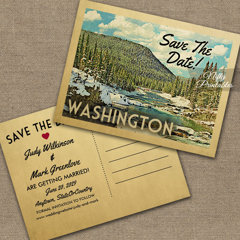 Washington Save The Date Snowy Nature PRINTED
