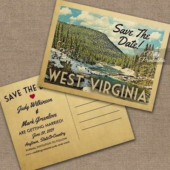 West Virginia Save The Date Snowy Nature PRINTED