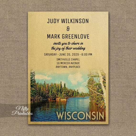 Wisconsin Wedding Invitation PRINTED