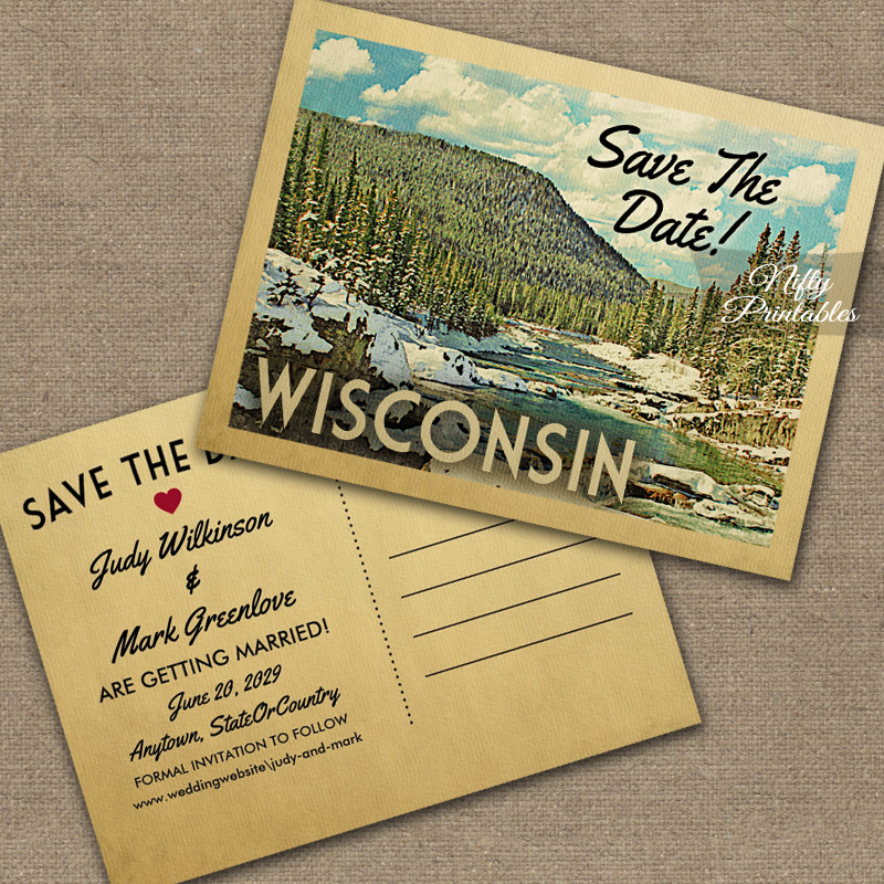 Wisconsin Save The Date Snowy Nature PRINTED