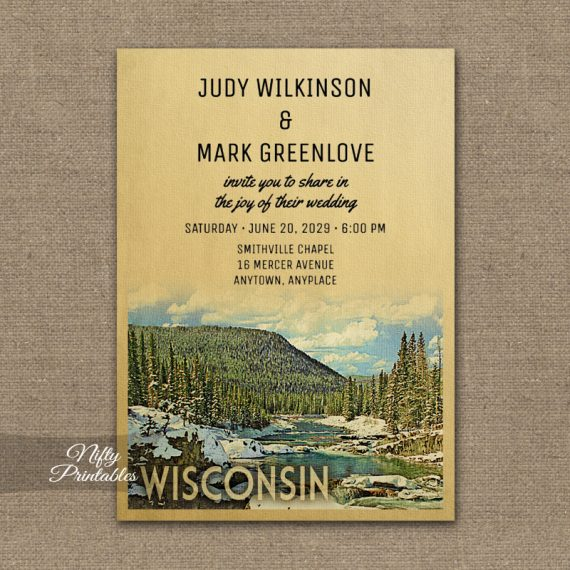 Wisconsin Wedding Invitation Snow Nature PRINTED