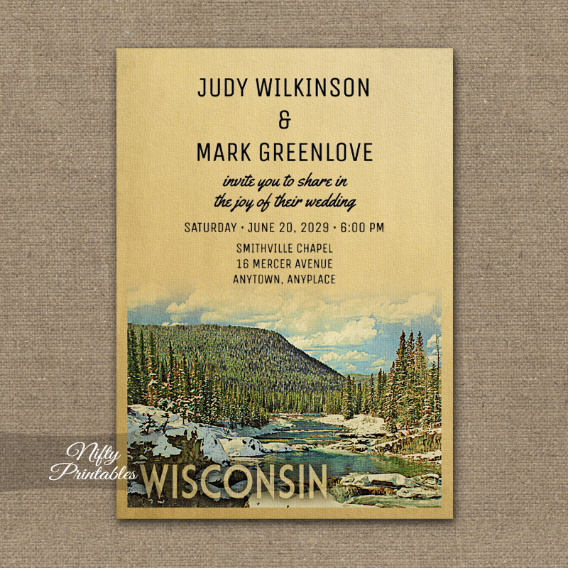 Wisconsin Wedding Invitation Snow Nature PRINTED