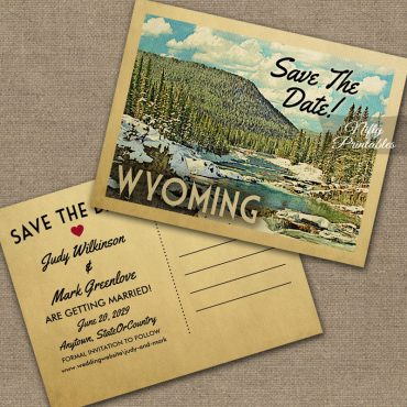 Wyoming Save The Date Snowy Nature PRINTED
