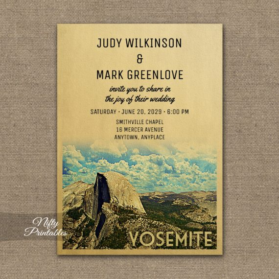 Yosemite Wedding Invitation PRINTED