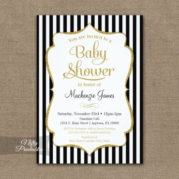 Elegant Baby Shower Black Gold Invitation PRINTED